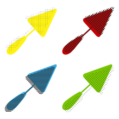 Trowel sign. Vector. Yellow, red, blue, green icons with their black texture at white background.