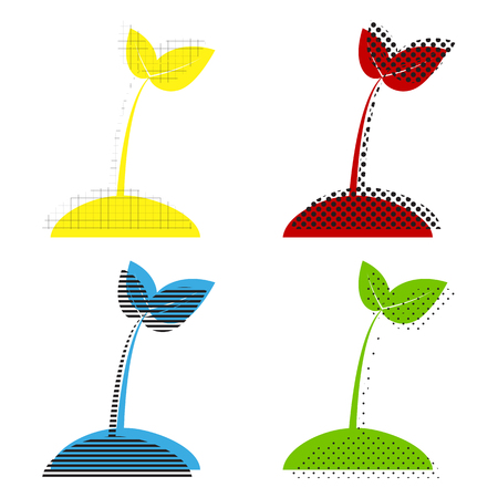 Sprout sign illustration vector in yellow, red, blue and green colors.