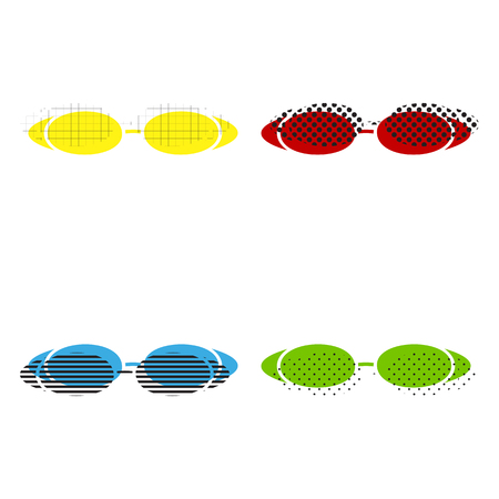 Diving glasses sign illustration. Vector. Yellow, red, blue, green