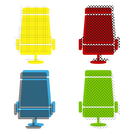 Airplane seat icon in yellow, red, blue and green color