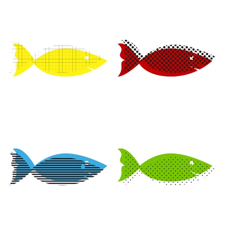 Fish sign illustration vector in yellow, red, blue and green colors.