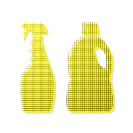 Household chemical bottles sign. Vector Yellow icon with square