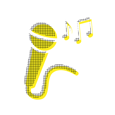 Microphone with musical notes in yellow and black icon with square pattern. 向量圖像