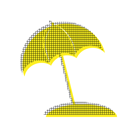 A Umbrella and sun lounger sign Vector Yellow icon with square pattern