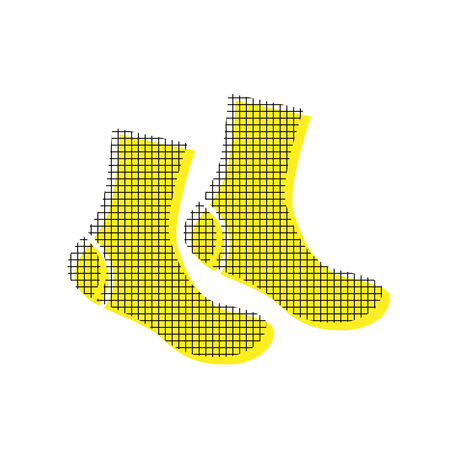 Socks sign Vector Yellow icon with square pattern duplicate