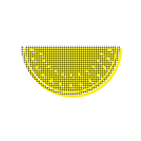 Watermelon sign Vector Yellow icon with square pattern duplicate