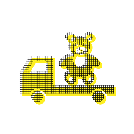 Truck with bear in yellow and black icon with square pattern.