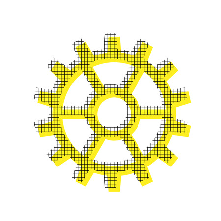 Gear sign Vector Yellow icon with square pattern duplicate