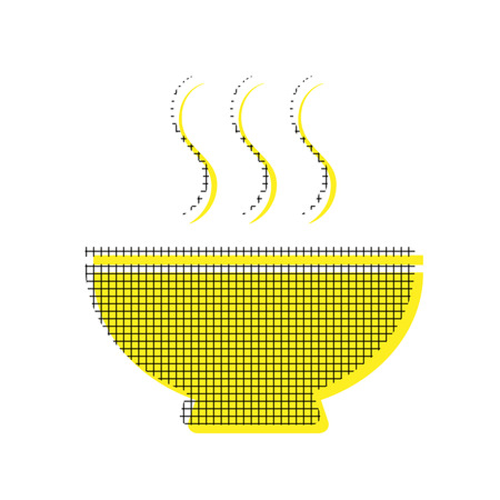 Soup sign Vector Yellow icon with square pattern duplicate