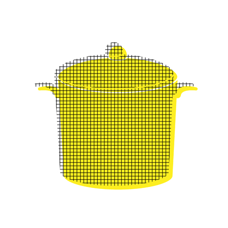 Pan sign Vector Yellow icon with square pattern duplicate Иллюстрация