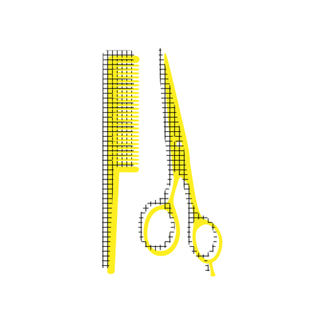 Comb and scissors in yellow and black icon with square pattern.
