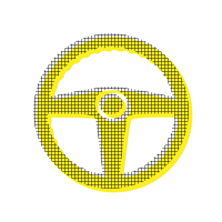 Car driver sign Vector on Yellow icon with square pattern Illustration