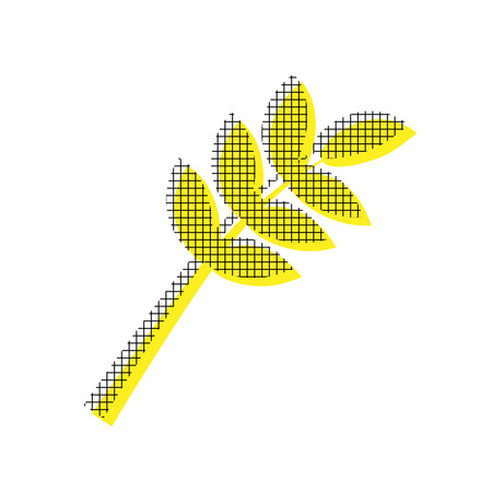 Tree branch sign Vector on Yellow icon with square pattern