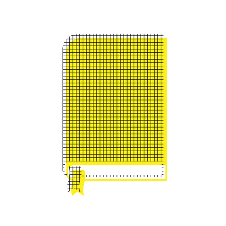 Book in yellow and black icon with square pattern. Illustration