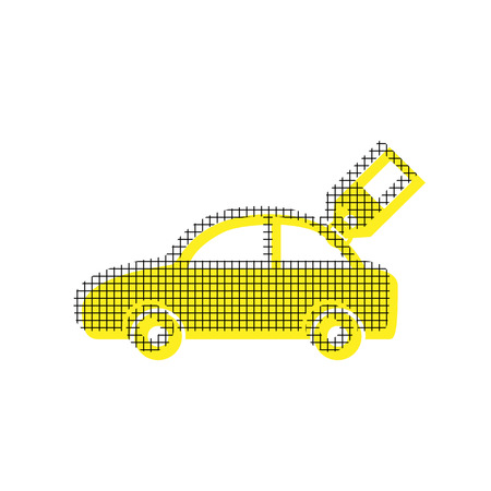 Car sign with tag. Vector. Yellow icon with square pattern dupli