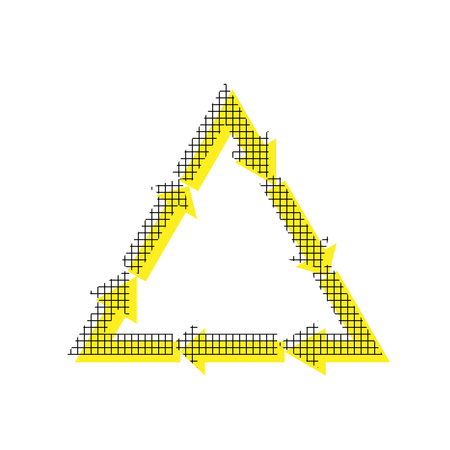 Arrows, recycling symbol in yellow and black icon with square pattern.