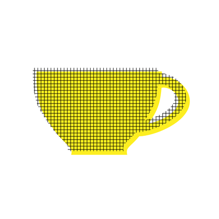 Cup in yellow and black icon with square pattern. Illustration