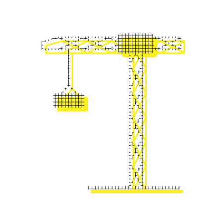 Construction crane in yellow and black icon with square pattern.
