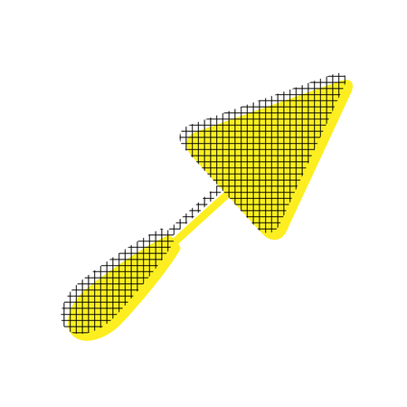 Trowel sign in yellow and black icon with square pattern.