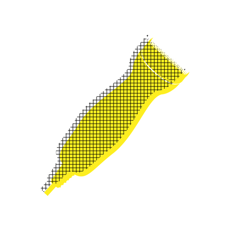 Clipper in yellow and black icon with square pattern. Illustration