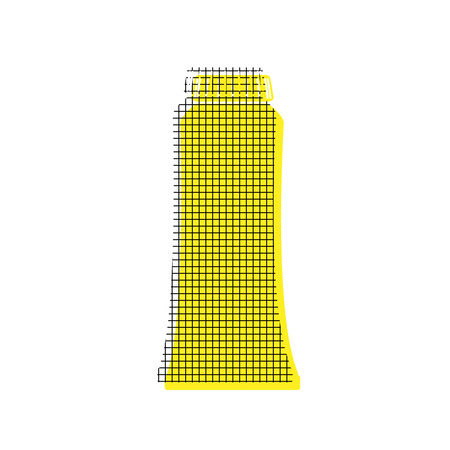 Toothpaste tube in yellow and black icon with square pattern.