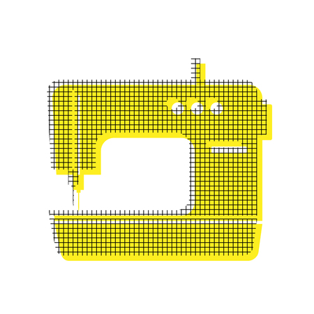 Sewing machine in yellow and black icon with square pattern. Illustration