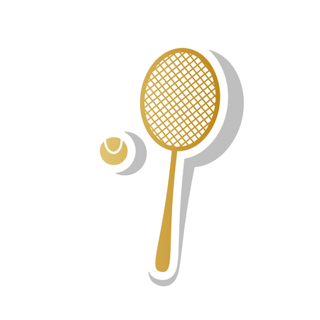 Tennis racquet with ball sign. Vector. Golden gradient icon with white contour and rotated gray shadow at white background.