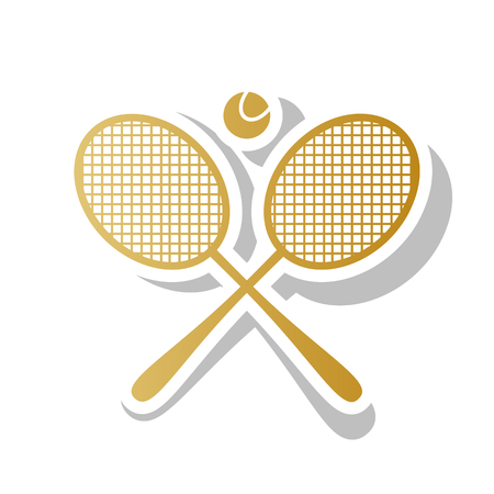 Two tennis racket with ball sign. Vector. Golden gradient icon with white contour and rotated gray shadow at white background.