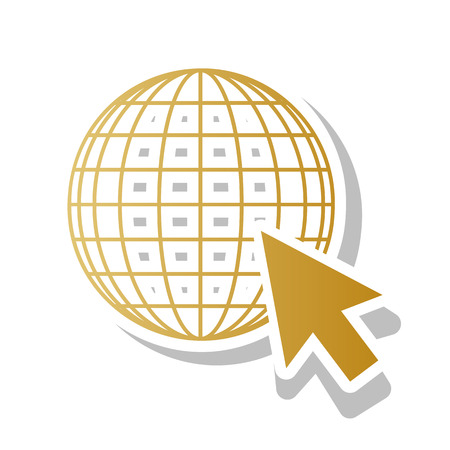 Earth Globe with cursor. Vector. Golden gradient icon with white contour and rotated gray shadow at white background.