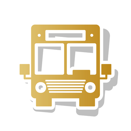 Bus sign illustration. Vector. Golden gradient icon with white contour and rotated gray shadow at white background.