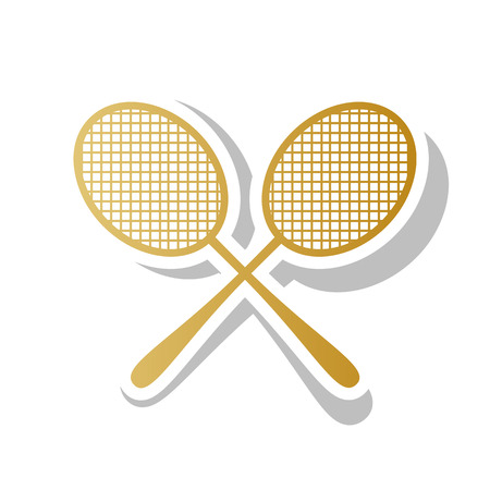 Two tennis racket sign. Vector. Golden gradient icon with white contour and rotated gray shadow at white background.