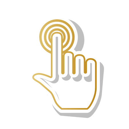 Hand click on button. Vector. Golden gradient icon with white contour and rotated gray shadow at white background.
