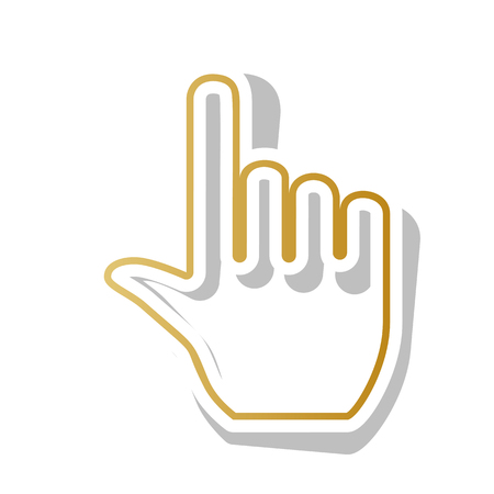 Hand sign illustration. Vector. Golden gradient icon with white contour and rotated gray shadow at white background. Illustration
