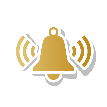 Ringing bell icon. Vector. Golden gradient icon with white contour and rotated gray shadow at white background.