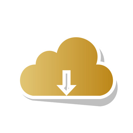Cloud technology sign. Vector. Golden gradient icon with white contour and rotated gray shadow at white background. Illustration
