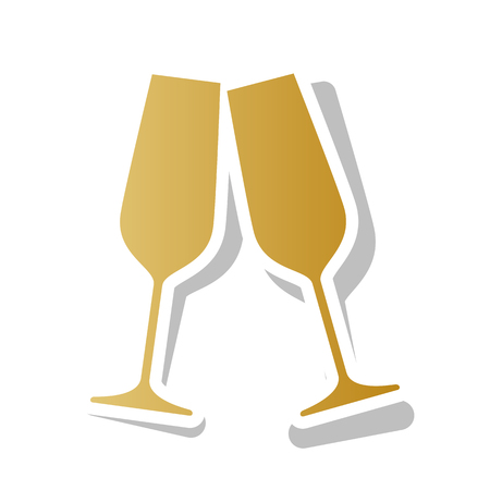 Sparkling champagne glasses. Vector. Golden gradient icon with white contour and rotated gray shadow at white background.