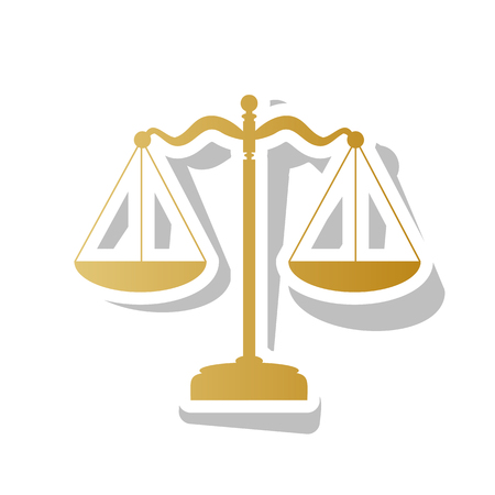 Scales balance sign. Vector. Golden gradient icon with white contour and rotated gray shadow at white background.