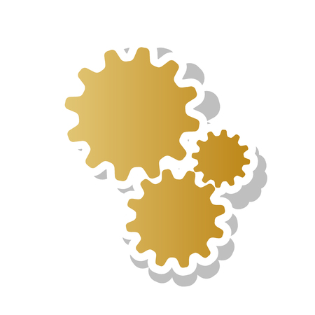 Settings sign illustration. Vector. Golden gradient icon with white contour and rotated gray shadow at white background. Illusztráció