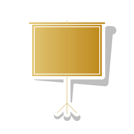 Blank Projection screen. Vector. Golden gradient icon with white contour and rotated gray shadow at white background.