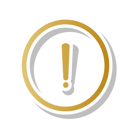 Exclamation mark sign. Vector. Golden gradient icon with white contour and rotated gray shadow at white background.