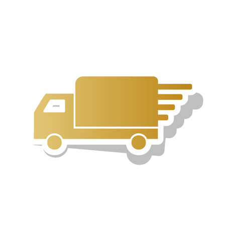 Delivery sign illustration. Vector. Golden gradient icon with white contour and rotated gray shadow at white background. 矢量图像