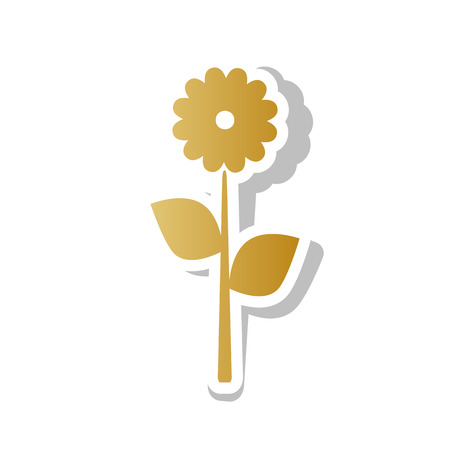 Flower sign illustration. Vector  Golden gradient icon with white contour and rotated gray shadow at white background. Illustration