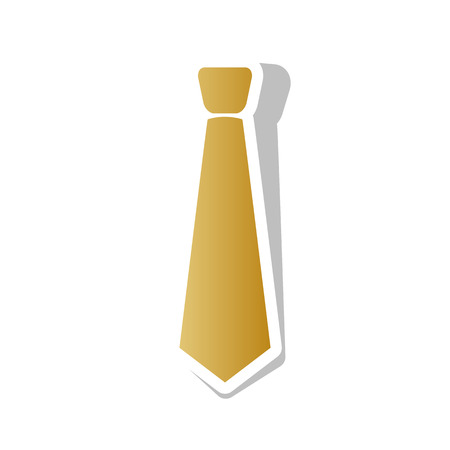 Tie sign illustration. Vector Golden gradient icon with white contour and rotated gray shadow at white background.