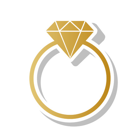 Diamond sign illustration. Vector. Golden gradient icon with white contour and rotated gray shadow at white background. Illustration