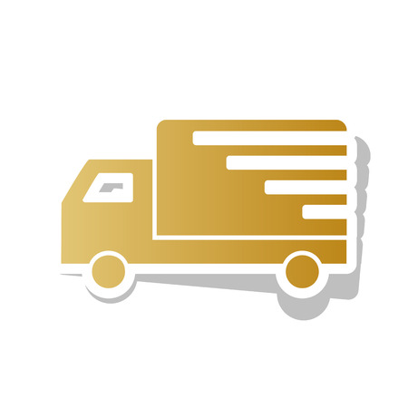 Delivery sign illustration. Vector. Golden gradient icon with white contour and rotated gray shadow at white background. Illustration
