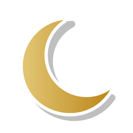 Moon sign illustration. Vector. Golden gradient icon with white contour and rotated gray shadow at white background.