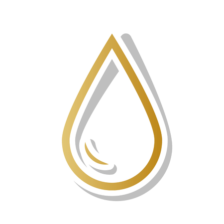 Drop of water sign. Vector. Golden gradient icon with white contour and rotated gray shadow at white background. Illustration