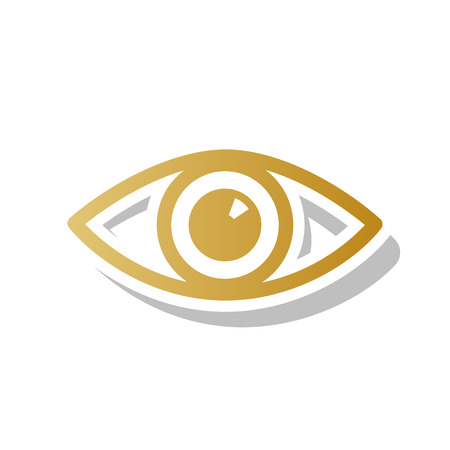 Eye sign illustration. Vector. Golden gradient icon with white contour and rotated gray shadow at white background.