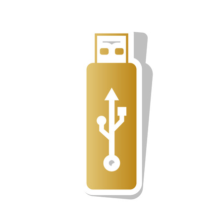 USB flash drive sign. Vector. Golden gradient icon with white contour and rotated gray shadow at white background. Illustration
