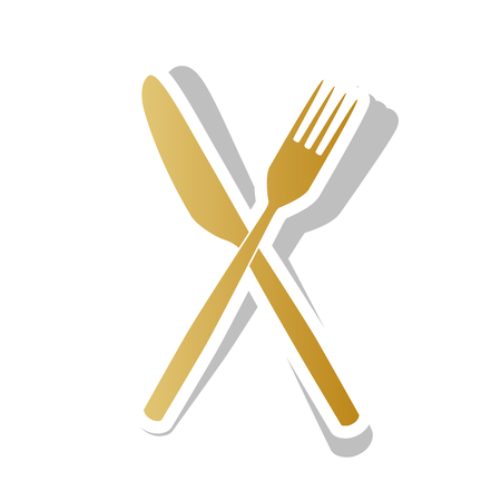 Fork and Knife sign. Vector. Golden gradient icon with white contour and rotated gray shadow at white background.
